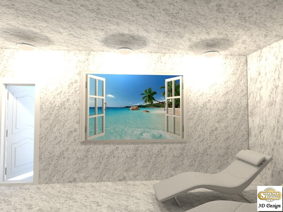 Solna soba Solni tempelj s pogledom na morje
